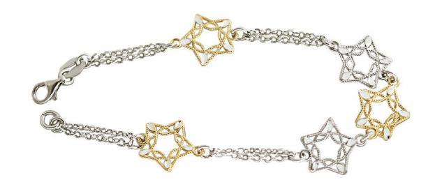 Silberarmband 925 Sterne Goldl und Silber Armband bicolor Silberarmkette