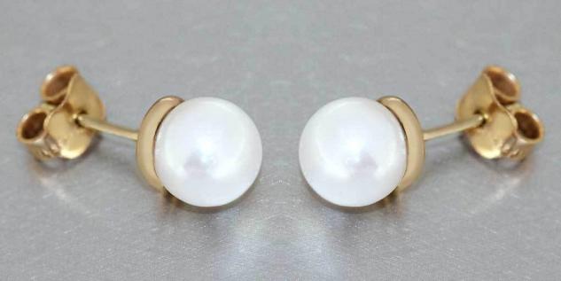 Perlen Ohrstecker Gold 750 Ohrschmuck 18 Karat mit Perlen 7 mm Ohrringe