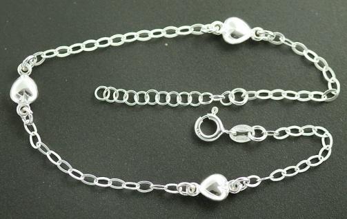 Massives Fußkettchen Silber 925 mit Herzen - trendige Fußkette Silberkette Herz
