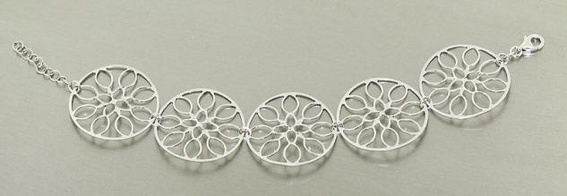 Dekoratives breites Armband Silber 925 - Silberarmband - Armkette rhodiniert