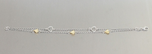 2reihiges Silberarmband 925 m Herzen bicolor Armband Silber Herz Gold Armkette