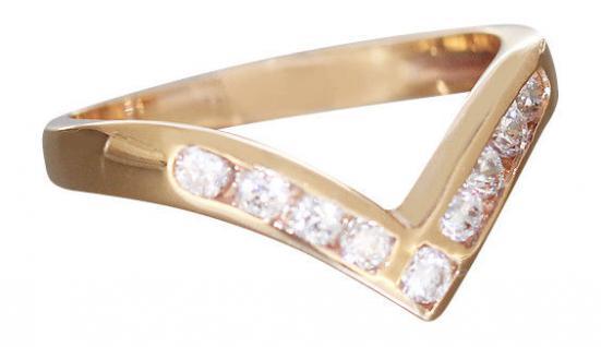 Moderner Goldring mit Zirkonias - Ring Gold 585 massiv - edler Damenring 14 kt