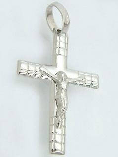 Weißgoldkreuz 585 mit Korpus - Anhänger Kreuz Weißgold 14 kt Gold Kreuzanhänger
