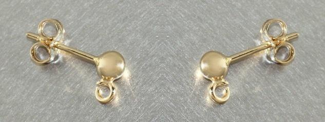 Kugel Ohrstecker Gold 585 Ersatzteil 4 mm Kugeln mit Ring zum Einhängen