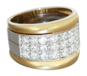 Schwerer breiter Goldring 750 mit Zirkonias Ring Gold 11 gr. Damenring 18 kt