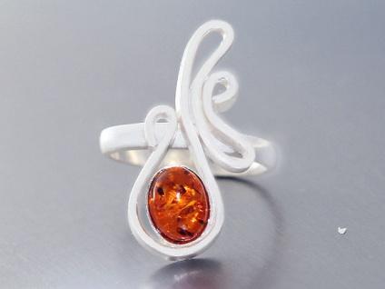 Designer Ring Silber 925 mit Bernstein toller Silberring Bernsteinring Damen