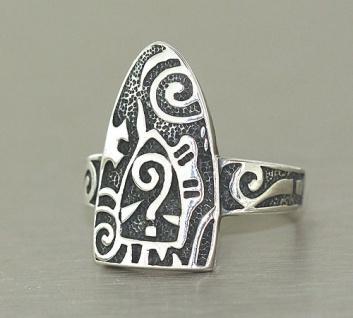 Große Optik Super Ring in Silber 925 großartiger Silberring geschwärzt massiv