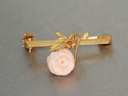 Brosche Gold 375 mit 1 Koralle - Brosche in 9 kt Gold - Rose, um 1900 - Vorschau