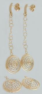 Beweglicher Ohrschmuck Gold 585 Ohrstecker Spiralen lange Ohrhänger Ohrringe