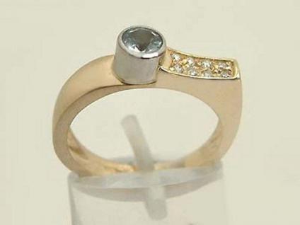Massiver Goldring 585 mit Brillanten und Blautopaz Ring Gold Brillantring
