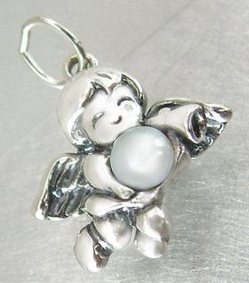 Kleiner Engel Anhänger echt Silber 925 mit Perle - Schutzengel - Silberanhänger