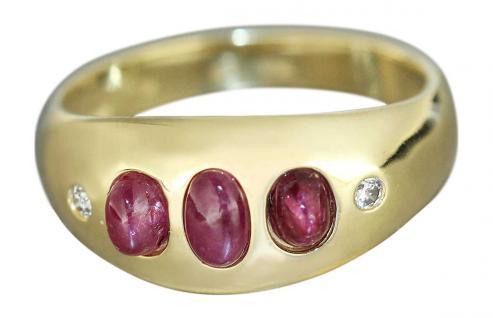 Rubinring - Ring Gold 585 mit drei Rubin Cabochons - Diamant Goldring Damenring