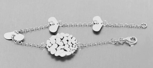 Armband Silber 925 mit Herzen massives Silberarmband Herz Armkette Damen 19 cm