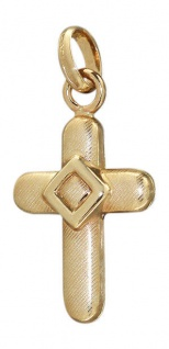 Anhänger mattiertes Goldkreuz 585 - Goldanhänger wunderschönes Kreuz Gold 14 kt