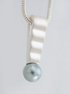 Schlangenkette und Anhänger Silber 925 mit grauer Perle + Silberkette Schmuckset
