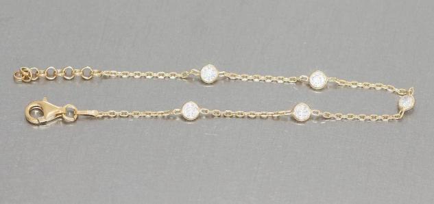 Armband Silber 925 vergoldet mit Zirkonias Silberarmband feine Armkette Gold