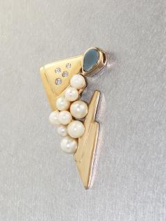 Anhänger Gold 585 mit Opal + Perlen - Goldanhänger in 14 kt Gold mit Opal
