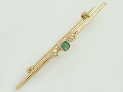 Brosche Gold 585 mit Brillant und Smaragd Goldbrosche Brillant Smaragdbrosche