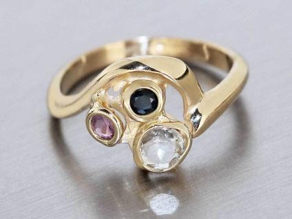 Goldring 585 mit Rubin Saphir Aquamarin - Ring Gold - Damenring - Edelsteinring