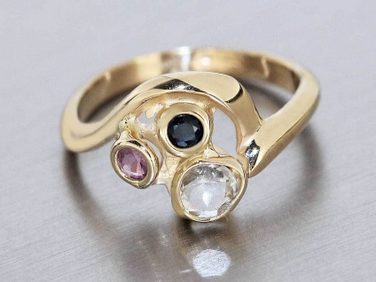 Goldring 585 mit Rubin Saphir Aquamarin Ring Gold Damenring Edelsteinring 14 Kt