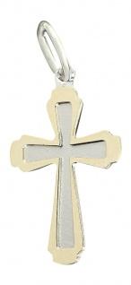 Edles Kreuz - Anhänger Gold 585 - Zweifarbengold 14 kt Goldanhänger - Goldkreuz