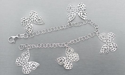 Armband Silber 925 Bettelarmband Schmetterling - Silberarmband - Armkette massiv