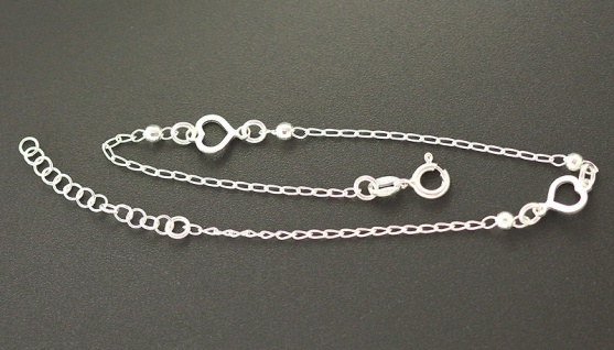 Fußkettchen Silber 925 mit Herzen - Silberkette - Fußkette mit Herz - massiv