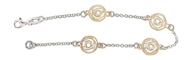 Super Armband Silber 925 Gold Silberarmband vergoldet runde Glieder top Armkette