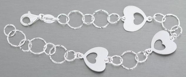 Herz Armband Silber 925 massiv Silberarmband m. Herzen Armkette Gliederarmband