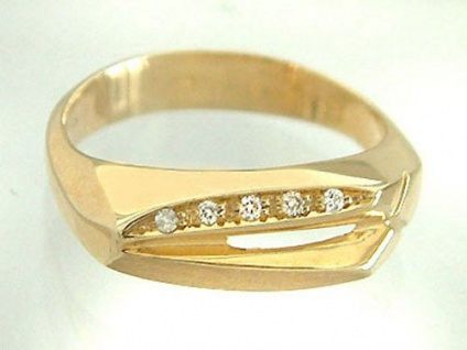 Hochwertiger Brillantring Gold 585 - massiver Goldring - Damenring mit Brillant