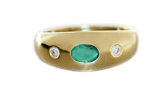 Goldring 585 Allianzring Smaragd und Brillanten 0, 10 ct Damen Ring RW 55 - Vorschau 1