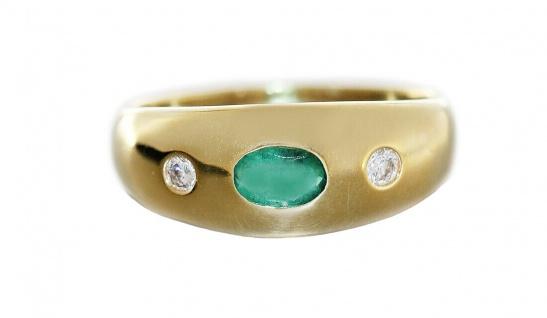 Goldring 585 Allianzring Smaragd und Brillanten 0, 10 ct Damen Ring RW 55