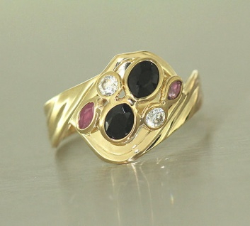 Goldring 585 mit Rubin Saphir Zirkonia Ring echt Gold - Damenring Edelsteinring