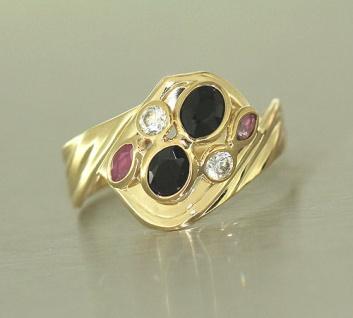 Goldring 585 mit Rubin Saphir Zirkonia Ring echt Gold Damenring Edelsteinring