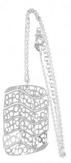 Silberkette 925 Anhänger Rechteck beweglich Designer Halskette Collier Damen