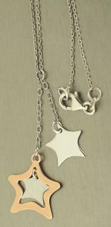 Sternchen Kette Silber 925 Silberkette mit Stern Anhänger Rosegold - Y- Collier