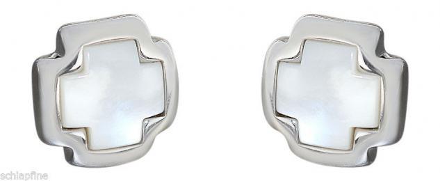 Große Kreuz Ohrstecker Silber 925 mit Perlmutt - Ohrschmuck - Ohrringe