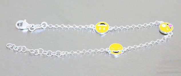 Mädchen Armband Silber 925 Smiley Emojis Armkette massiv Kinder Karabiner