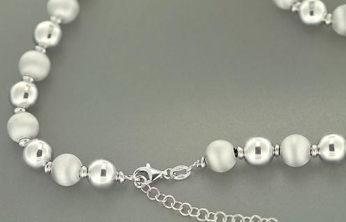 Silber 925 Perlenarmband - Silberarmband - Kugel Armband Armkette matt glänzend