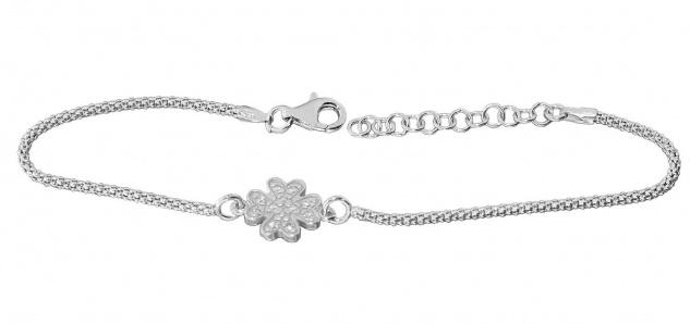 Armband Silber 925 Kleeblatt Zirkonias Himbeerkette Armkette Damen