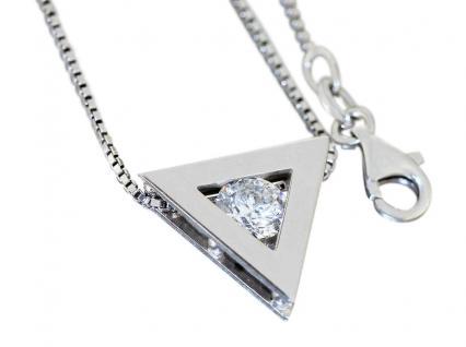 Blickfang! Silberkette 925 mit Anhänger Dreieck mit Zirkonia Halskette Collier
