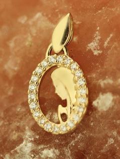 Hl. Maria Anhänger Gold 585 mit Zirkonias - kleiner Goldanhänger Mutter Gottes