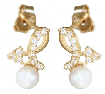 Ohrstecker Gold 585 Perlen Zirkonias Pfeil Ohrringe Damen Mädchen Ohrschmuck