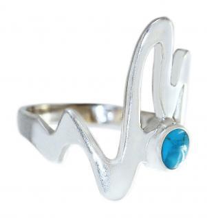 Silberring 925 Top Design Ring Silber massiv Email Türkis Damenring