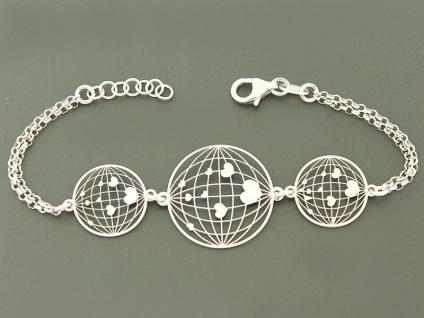 Armband Silber 925 rhodiniert - Silberarmband Herz Armkette 2-reihig mit Herzen