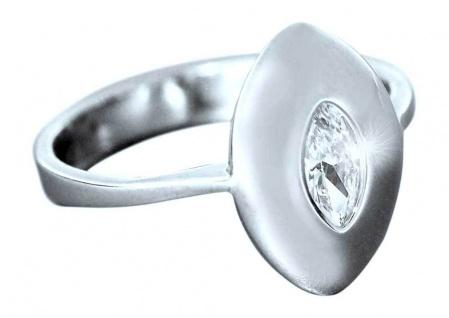 Eleganter Silberring 925 - Zirkonia im Navetteschliff Designer Ring echt Silber