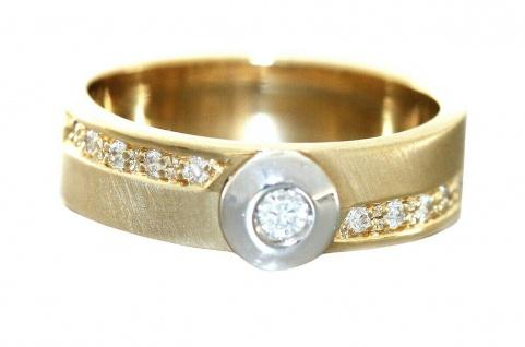 Ring Gold 585 Brillanten 0, 16 ct. Bandring bicolor Diamanten massiv RW 57
