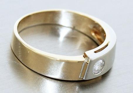 Ring Gold 585 bicolor 14 kt mit Brillant 0, 2 ct Brillantring RW 55 Goldring - Vorschau 3