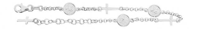 Massives Schutzengel Armband Silber 925 Armkette Kreuz Silberarmband Angelo