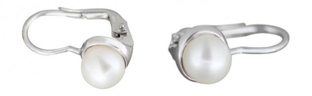 Ohrhänger Weißgold 585 Perle Perlenohrhänger Gold klassische Ohrringe Weißgold